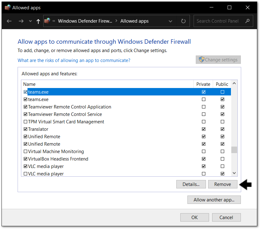 remove Teams access through firewall to reenable it to fix Microsoft Teams chat messages not sending, showing, loading or working
