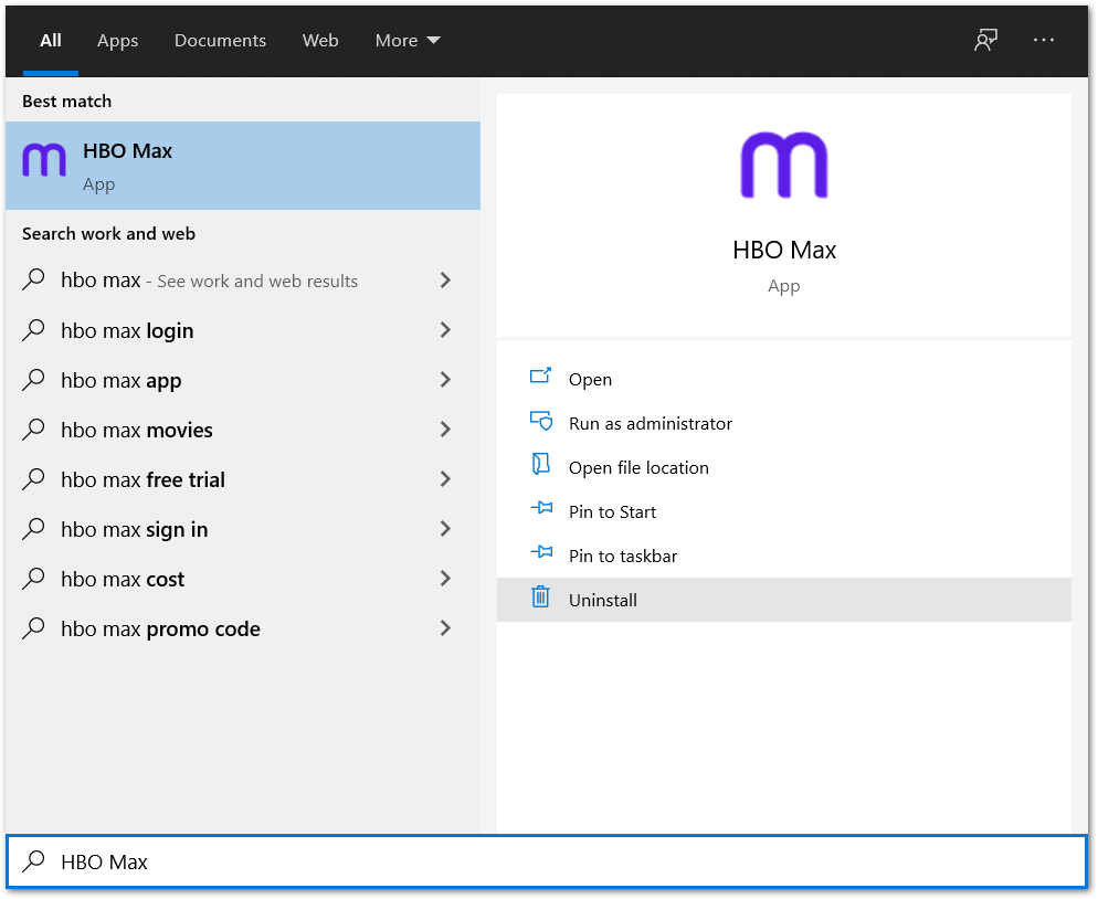 completely uninstall HBO Max app on Windows to reinstall it to fix HBO Max subtitles or closed captions not working, showing or loading