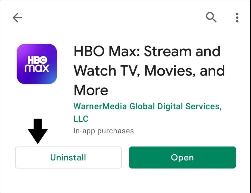 completely uninstall HBO Max app to reinstall it to fix HBO Max subtitles or closed captions not working, showing or loading