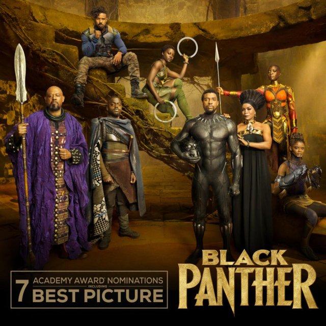 El elenco de Black Panther (2018), nominada a 7 Premios de la Academia. Imagen: Black Panther Twitter (@theblackpanther).