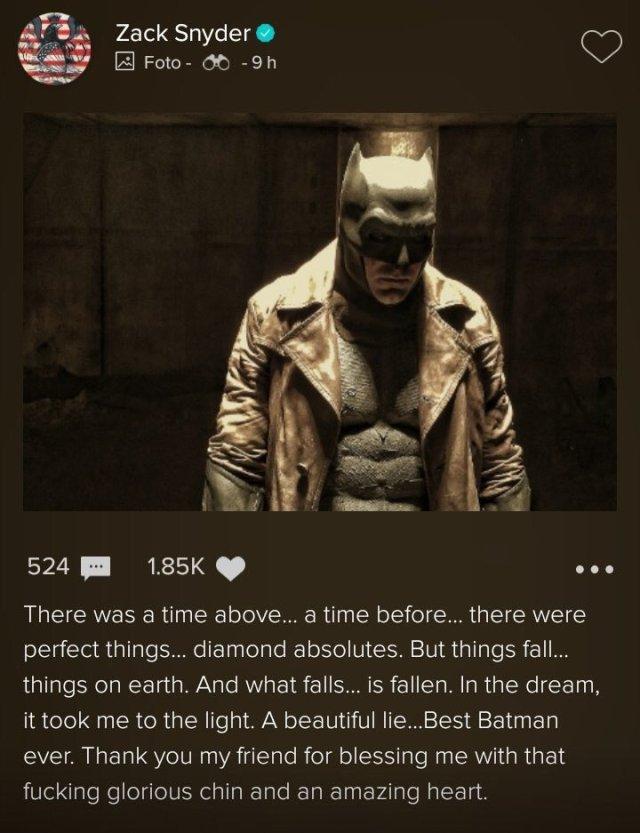 La publicación de Zack Snyder agradeciendo a Ben Affleck en Vero. Imagen: Comic Book Movie (CBM).
