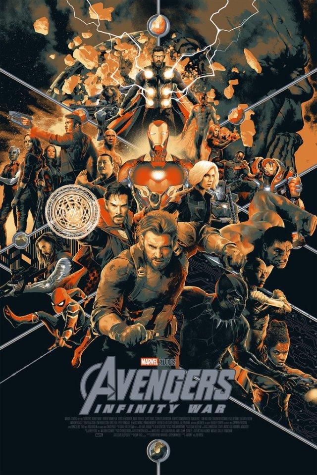Póster de Avengers: Infinity War (2018) por Matt Taylor para Mondo. Imagen: mondotees.com
