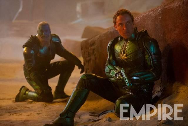 Bron-Char (Rune Temte) y el líder de la Starforce (Jude Law) en Captain Marvel (2019). Imagen: Empire Magazine