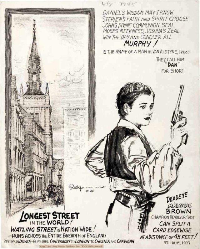 Un cartón de Believe It or Not! (20 de diciembre de 1937) ilustrado por Robert L. Ripley (1890-1949). Imagen: Comic Art Fans