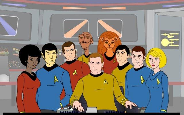 La tripulación de la U.S.S. Enterprise (NCC-1701) en Star Trek: The Animated Series (1973-1974). Imagen: Archivo.