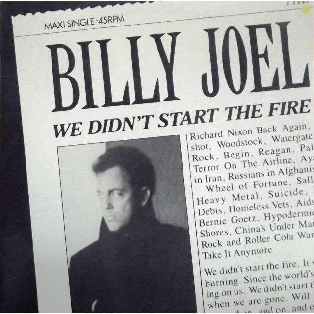 Maxi Single 45 RPM de We Didn't Start the Fire (1989) por Billy Joel. Imagen: CD and LP