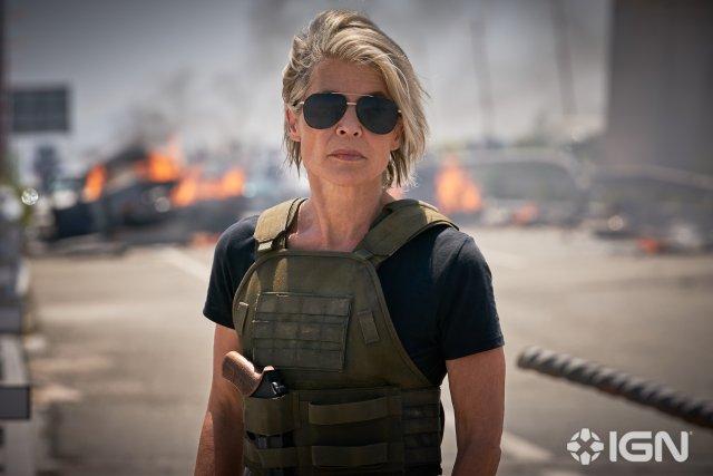 Linda Hamilton en Terminator: Dark Fate (2019). Imagen: IGN/Paramount Pictures