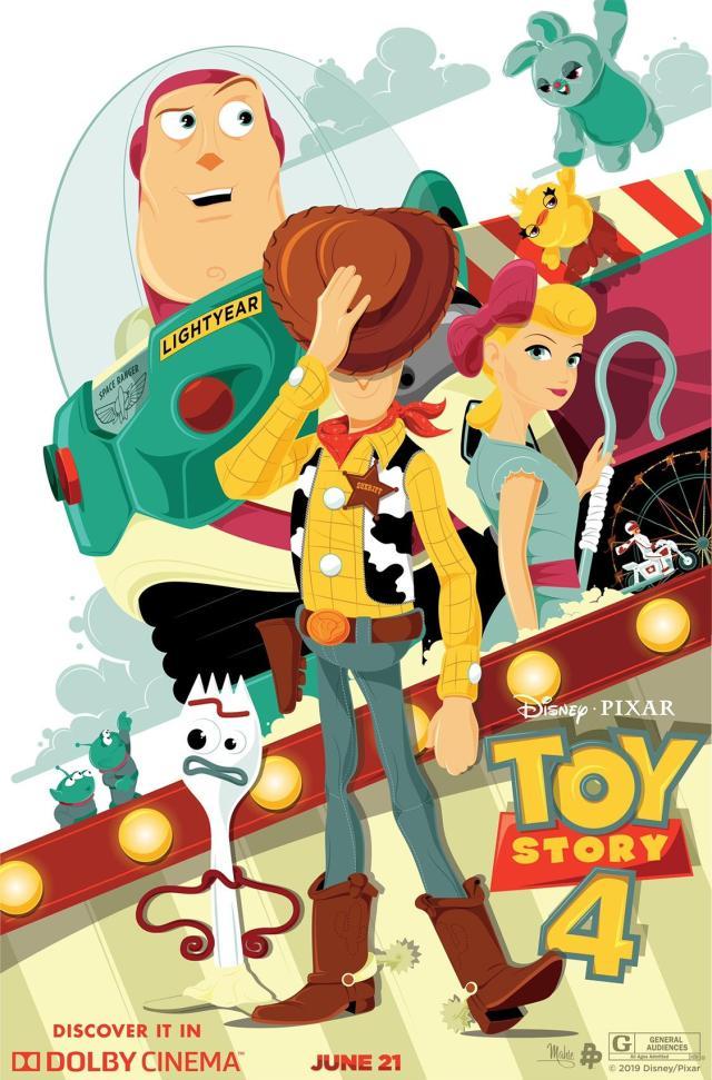 Póster Dolby Cinema de Toy Story 4 (2019). Imagen: Dolby Cinema Twitter (@DolbyCinema).