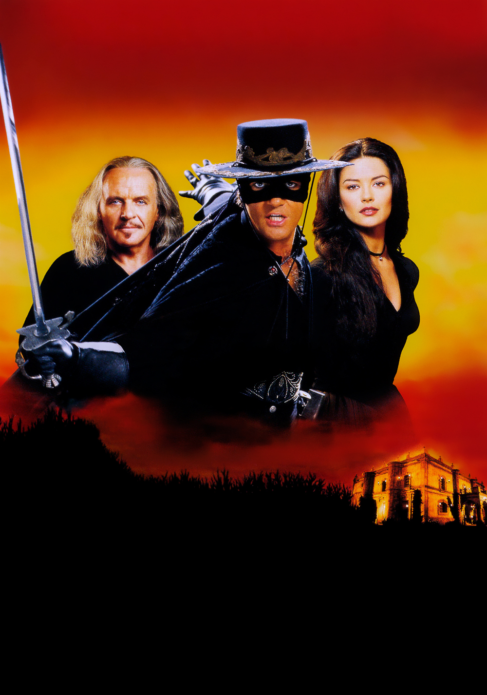 Antonio Banderas, Anthony Hopkins y Catherine Zeta-Jones en The Mask of Zorro (1998). Imagen: fanart.tv
