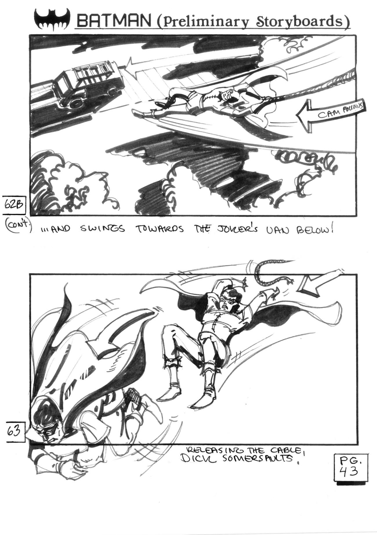 Robin en los storyboards de Batman (1989). Imagen: cinephiliabeyond.org