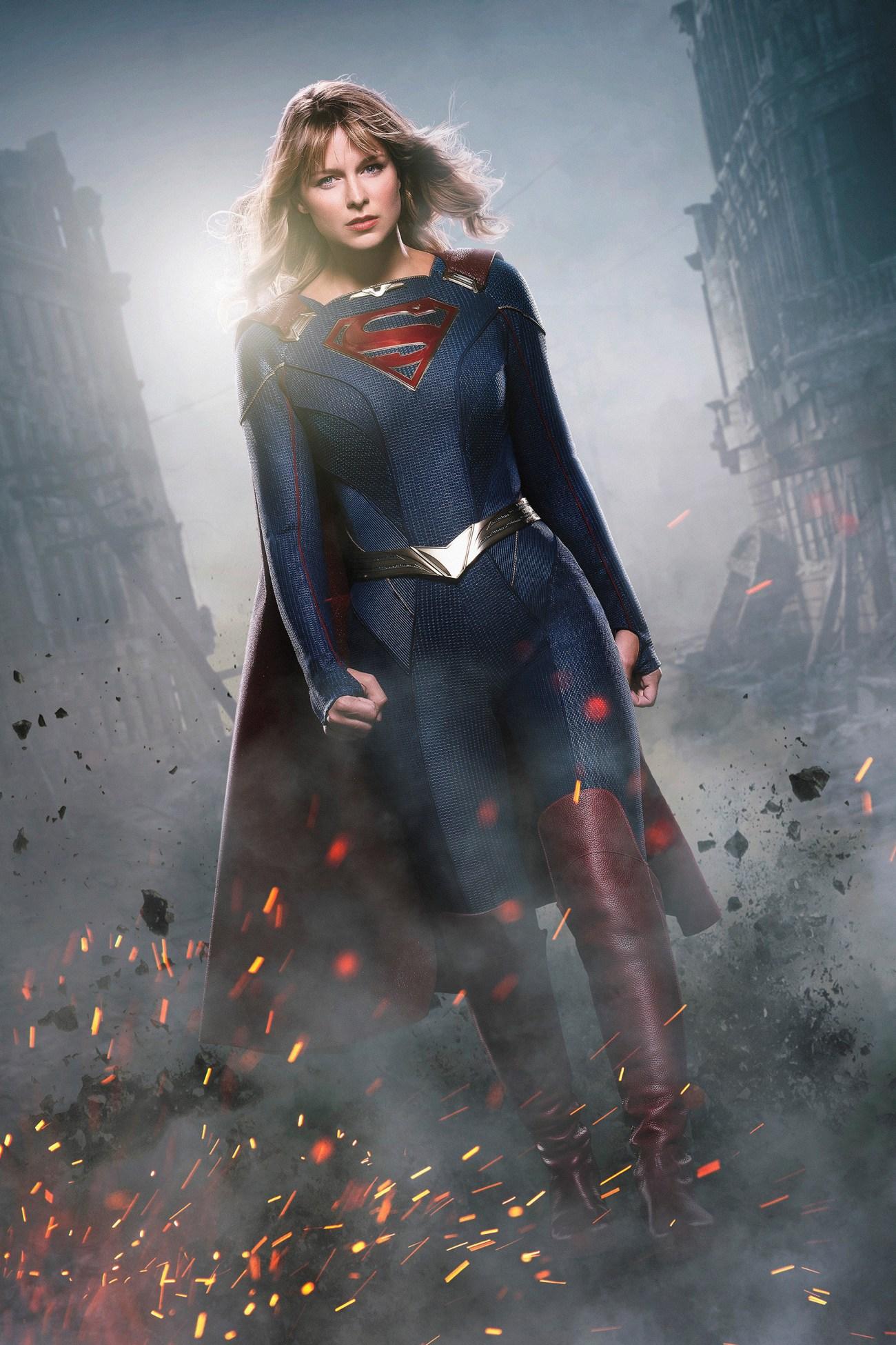 Melissa Benoist es la Chica de Acero en la temporada 5 de Supergirl. Imagen: The CW/Entertainment Weekly