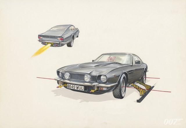 "Algunos ""extras"" del Aston Martin V8 de The Living Daylights (1987). Imagen: 007.com"