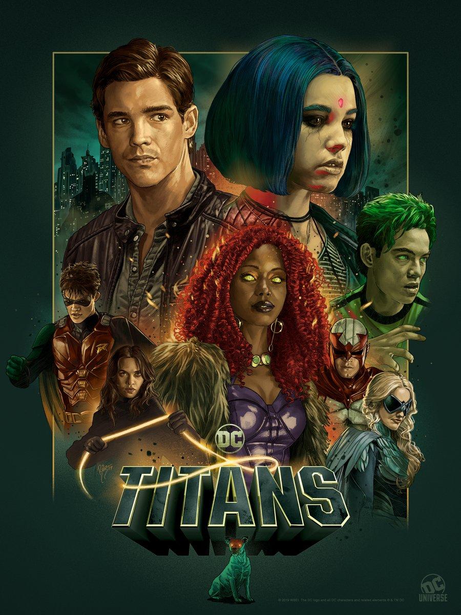 Póster de la temporada 2 de Titans por el artista Ruiz Burgos. Imagen: DC Universe Twitter (@TheDCUniverse).