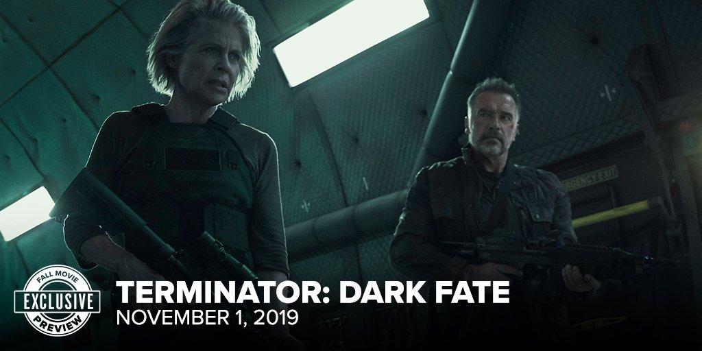 Linda Hamilton como Sarah Connor y Arnold Schwarzenegger como el Terminator T-800/Carl en Terminator: Dark Fate (2019). Imagen: Fandango Twitter (@Fandango).