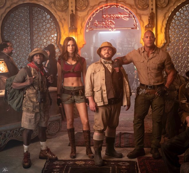 Kevin Hart, Karen Gillan, Jack Black y Dwayne Johnson en el set de Jumanji: The Next Level (2019). Imagen: Jumanji: The Next Level Twitter (@jumanjimovie).