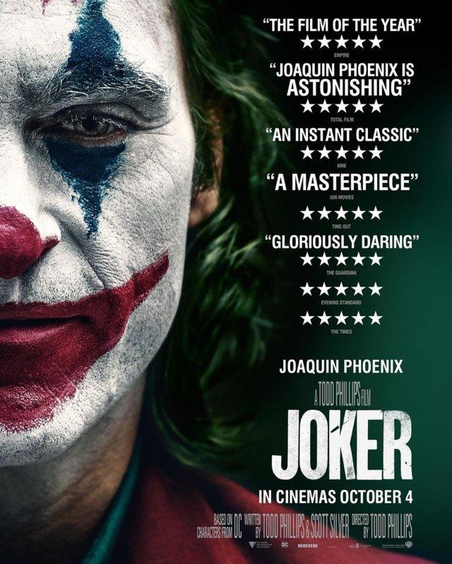 Póster británico de Joker (2019). Imagen: Joker Movie Twitter (@jokermovie).