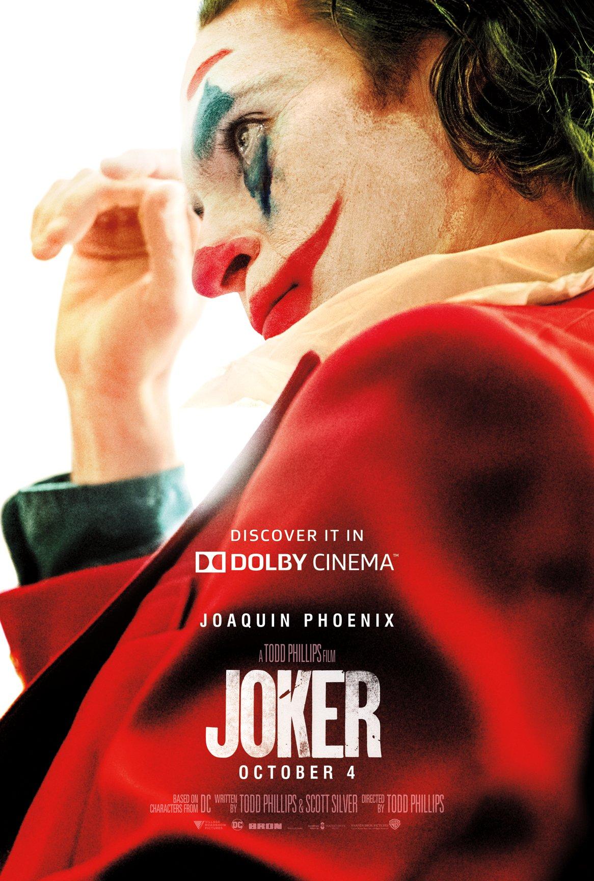 Póster Dolby Cinema de Joker (2019). Imagen: Dolby Cinema Twitter (@DolbyCinema).