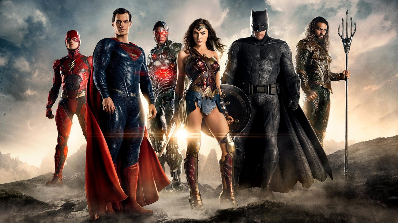 Flash (Ezra Miller), Superman (Henry Cavill), Cyborg (Ray Fisher), Wonder Woman (Gal Gadot), Batman (Ben Affleck) y Aquaman (Jason Momoa) en Justice League (2017). Imagen: fanart.tv