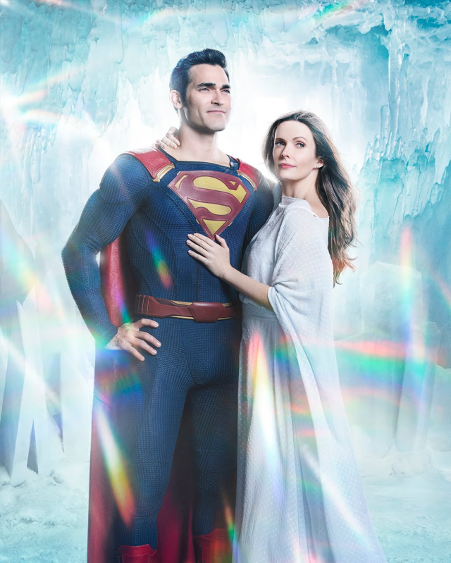 Superman (Tyler Hoechlin) y Lois Lane (Elizabeth Tulloch) en Elsewords. Imagen: Katie Yu/The CW