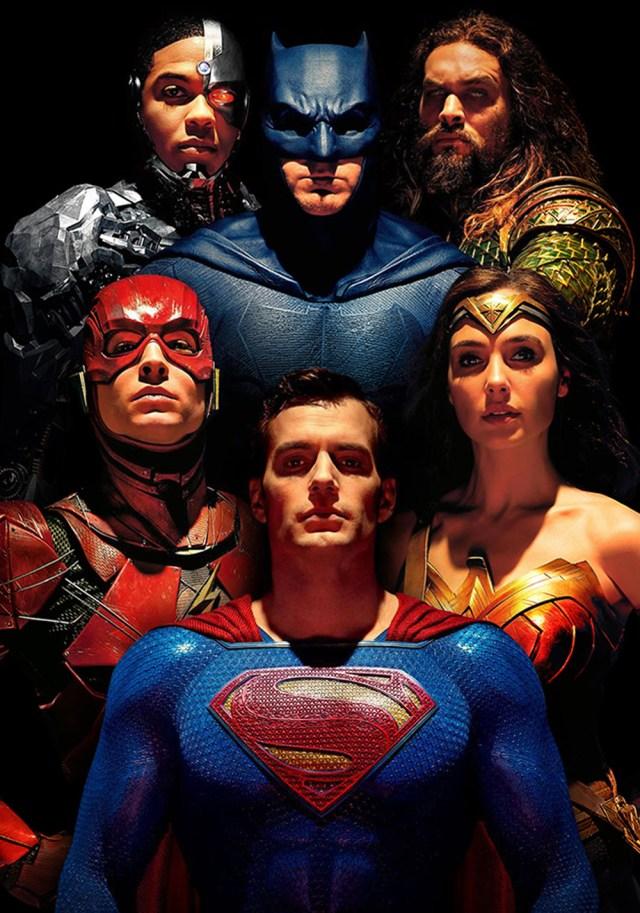 Cyborg (Ray Fisher), Batman (Ben Affleck), Aquaman (Jason Momoa), Flash (Ezra Miller), Superman (Henry Cavill) y Wonder Woman (Gal Gadot) en Justice League (2017). Imagen: fanart.tv