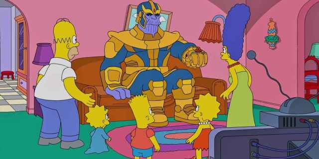 Thanos en un Couch Gag de The Simpsons (1989-Presente). Imagen: Comic Book Resources (CBR).