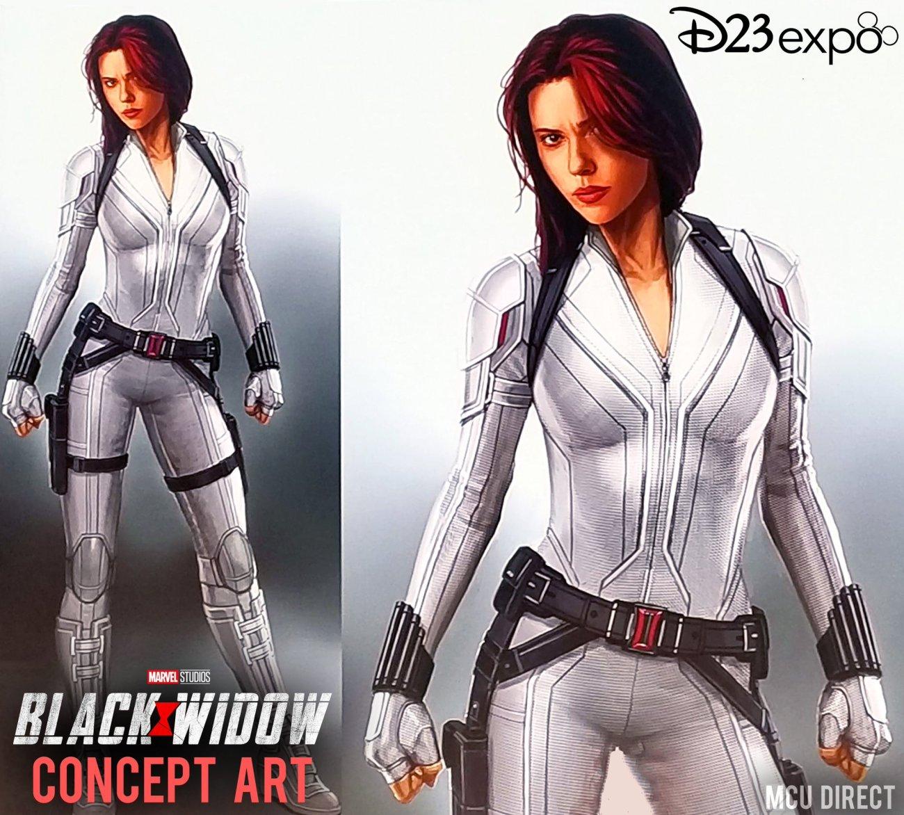Arte conceptual del traje de Black Widow/Natasha Romanoff (Scarlett Johansson) en Black Widow (2020) por Andy Park. Imagen: MCU Direct Twitter (@MCU_Direct).