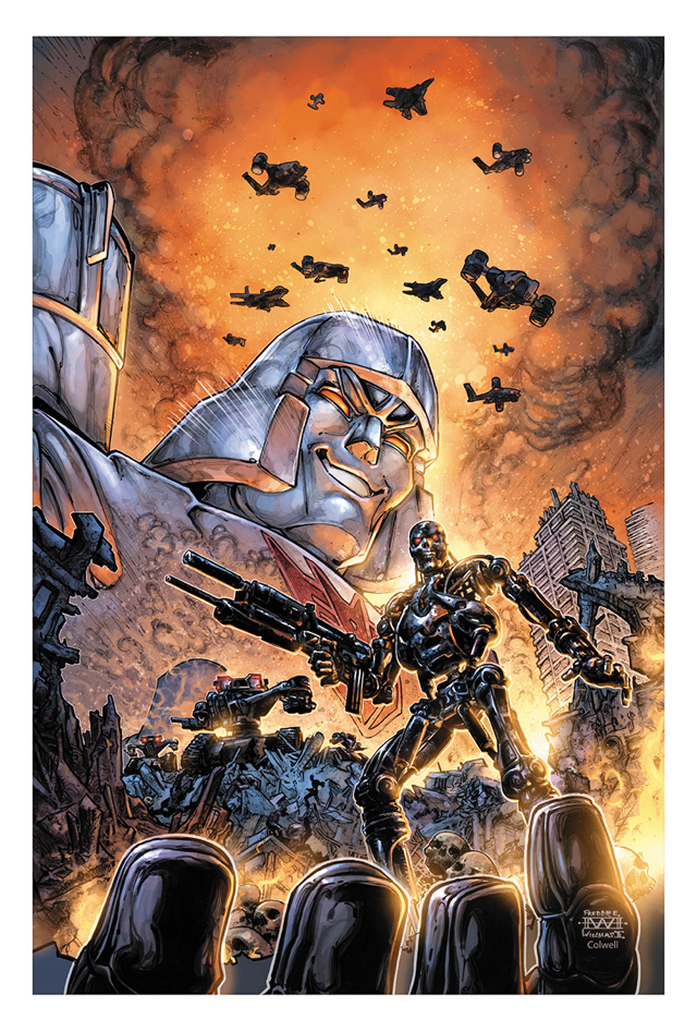 Portada de Transformers vs. The Terminator #1 (marzo de 2020) por Freddie E. Williams II. Imagen: IDW Publishing