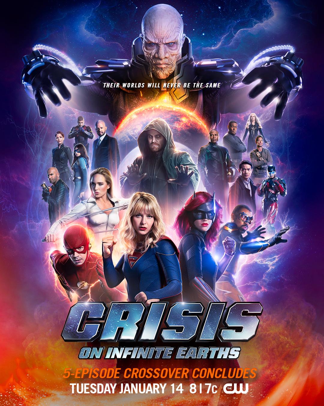 Póster de los episodios finales de Crisis on Infinite Earths. Imagen: Supergirl Twitter (@TheCWSupergirl).