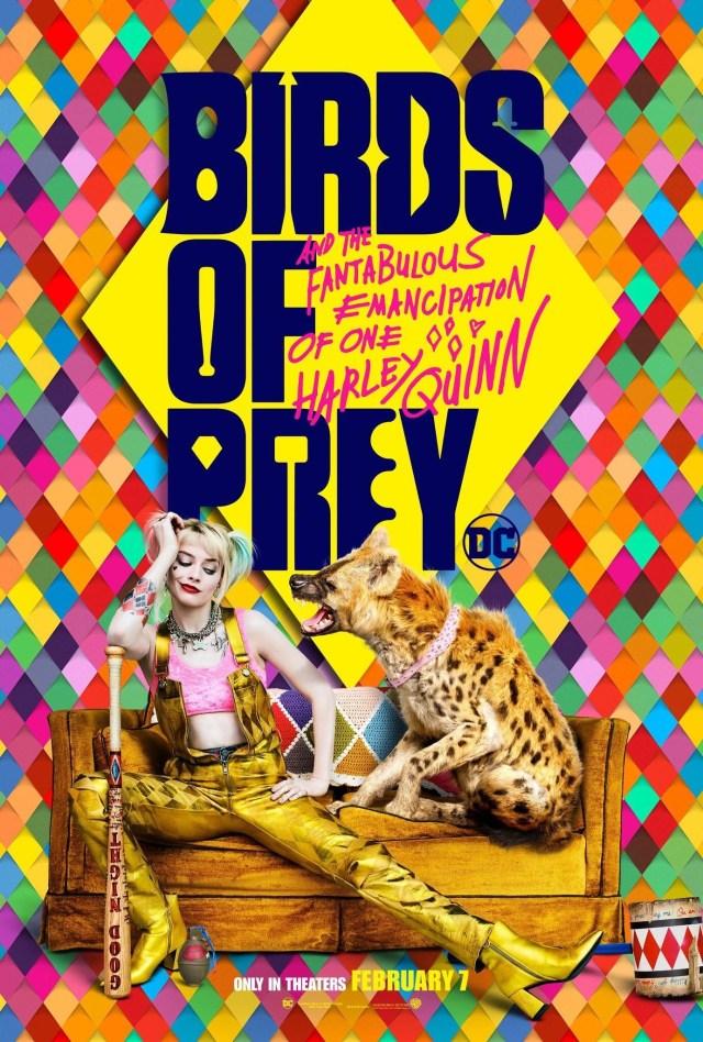 Harley Quinn (Margot Robbie) y su hiena Bruce en un póster de Birds of Prey (2020). Imagen: impawards.com
