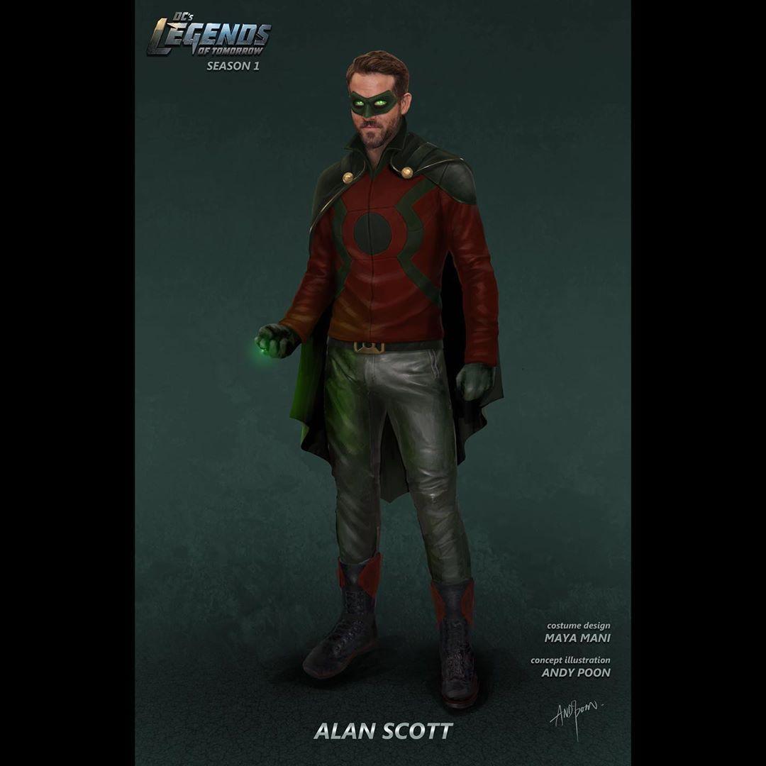 Arte conceptual de Green Lantern/Alan Scott en la temporada 1 de DC'Legends of Tomorrow. Imagen: Andy Poon Instagram (@anypoondesign).