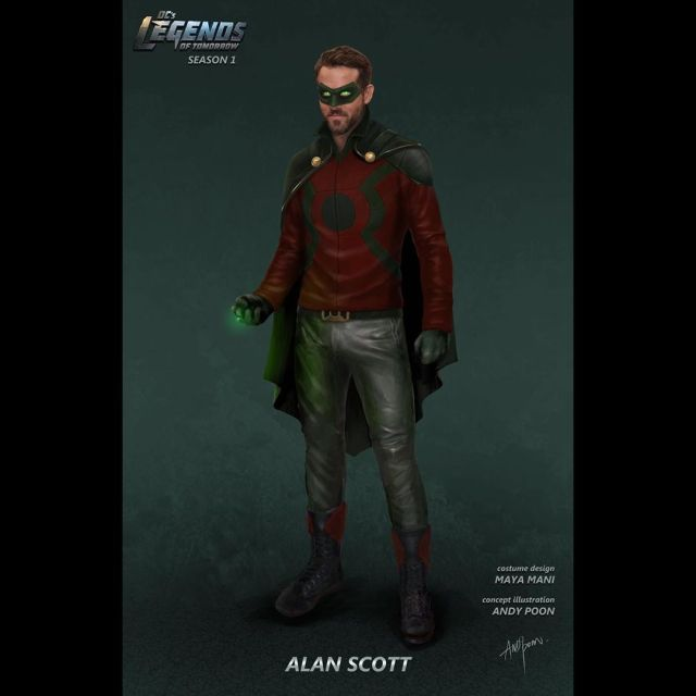 Arte conceptual de Green Lantern/Alan Scott en la temporada 1 de DC'Legends of Tomorrow. Imagen: Andy Poon Instagram (@anypoondesign).