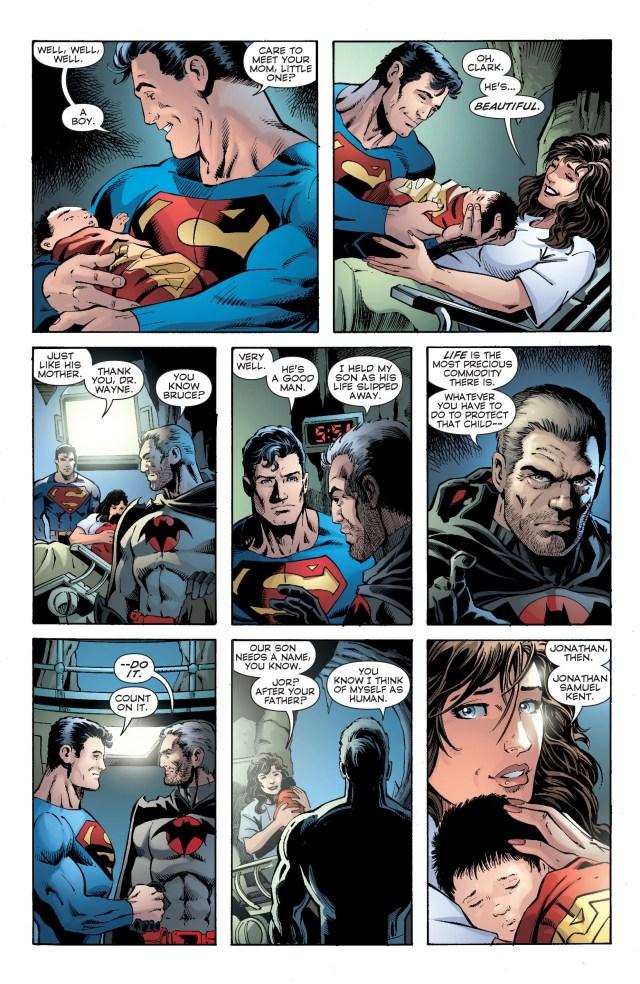 El nacimiento de Jonathan Kent en Convergence: Superman #2 (julio de 2015). Imagen: CBSI Comics