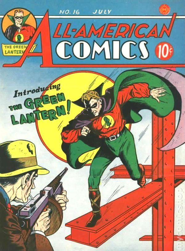 Portada de All-American Comics #16 (julio de 1940), la primera aparición de Green Lantern/Alan Scott. Imagen: pinterest.com
