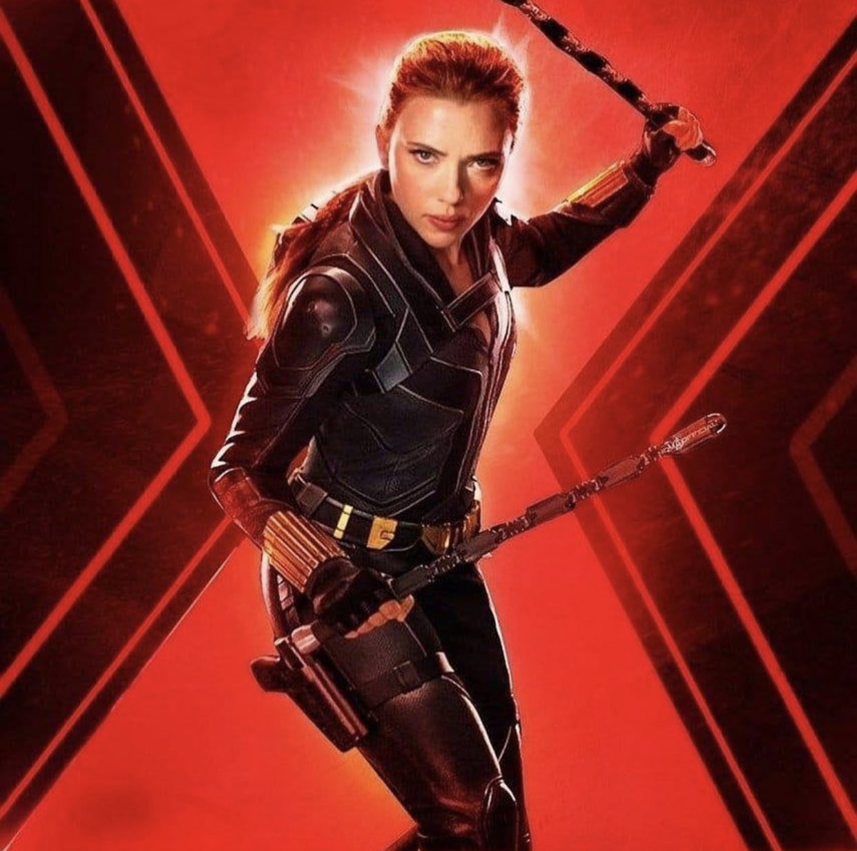Scarlett Johansson como Natasha Romanoff/Black Widow en una arte promocional de Black Widow (2020). Imagen: Black Widow Movie Twitter (@BlackWidow_Film).