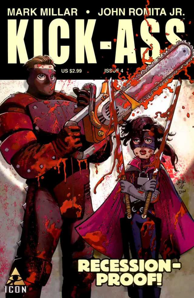 Big Daddy y Hit-Girl en la portada de  Kick-Ass #4 (octubre de 2008). Imagen: Comic Vine