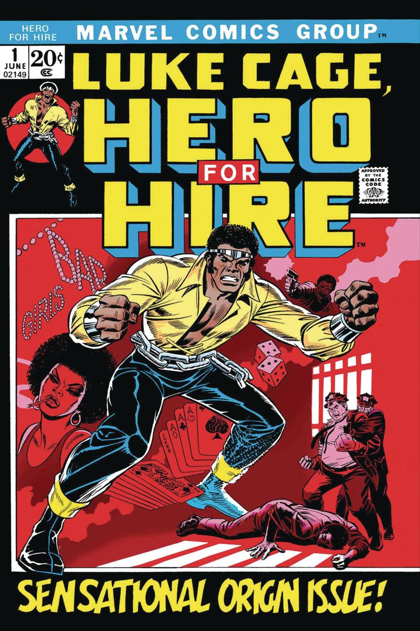 Portada de Luke Cage, Hero for Hire #1 (junio de 1972), la primera aparición de Luke Cage. Imagen: Comic Vine