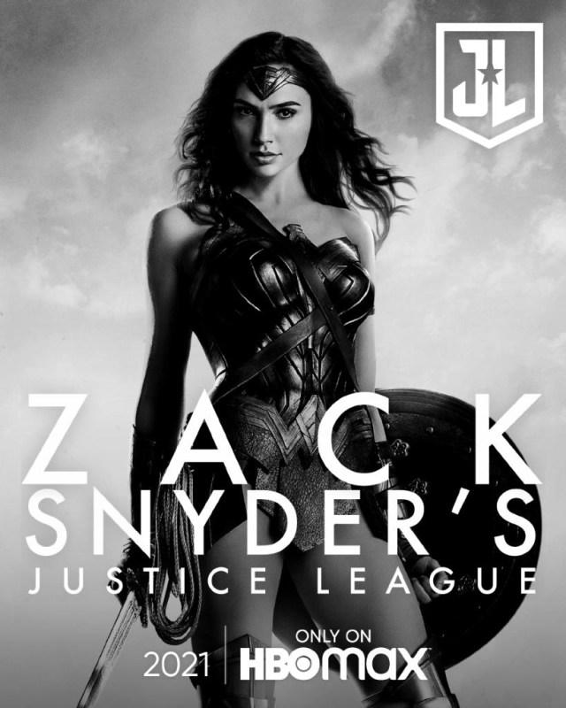 Wonder Woman (Gal Gadot) en un póster del Snyder Cut de Justice League (2017). Imagen: sneakpeek.ca