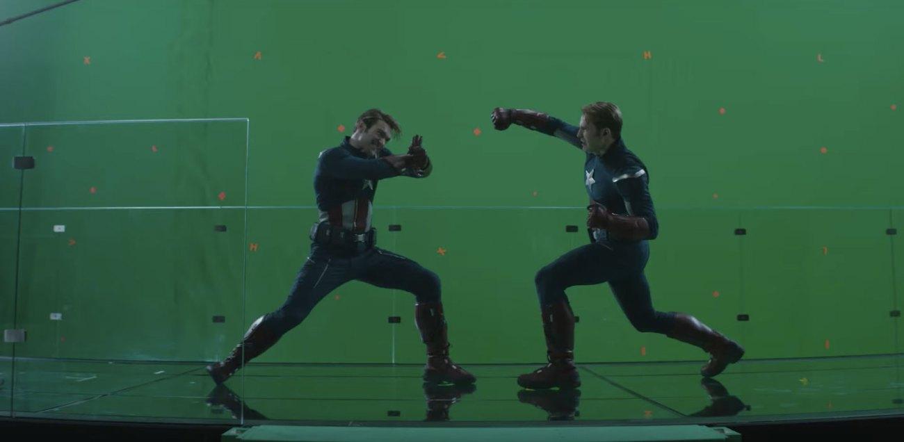 Un choque de escudos imaginarios y pantalla verde en Avengers: Endgame (2019). Imagen: slashfilm.com