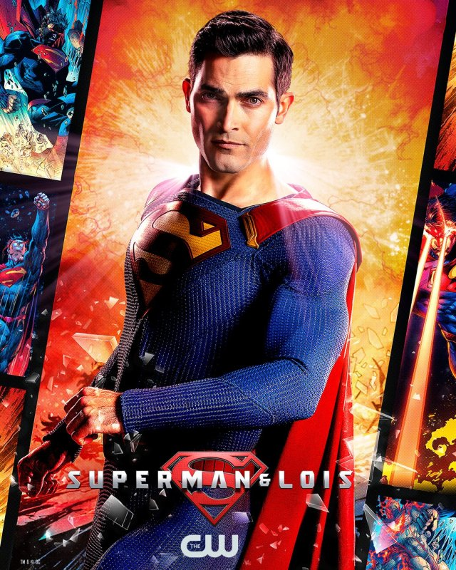 Superman (Tyler Hoechlin) en un póster de Superman & Lois. Imagen: Superman and Lois Twitter (@cwsupermanlois).