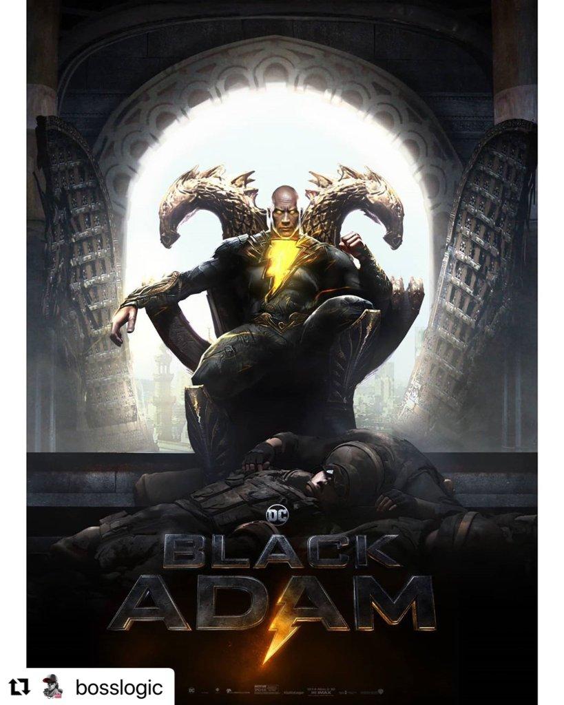 Black Adam (Dwayne Johnson) en arte conceptual de Black Adam (2021). Imagen: Jim Lee (@JimLee).
