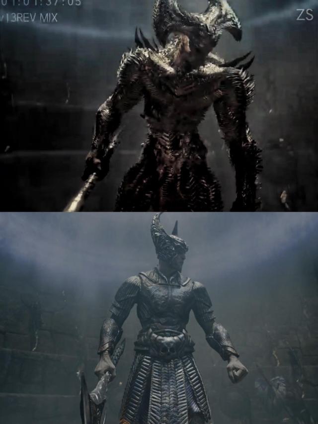 El diseño de Steppenwolf (Ciarán Hinds) en Zack Snyder's Justice Leage (2021) y en la versión para cine de Justice League (2017). Imagen: DC_Cinematic Reddit