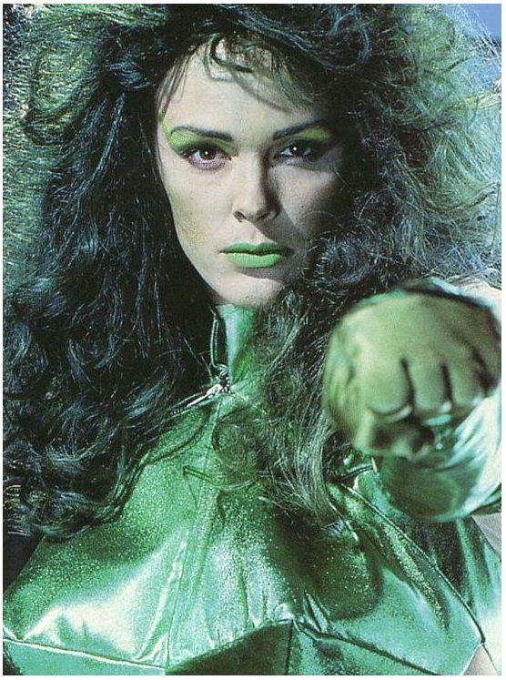 Brigitte Nielsen en una prueba para una película de She-Hulk a principios de los 90's. Imagen: pinterest.com