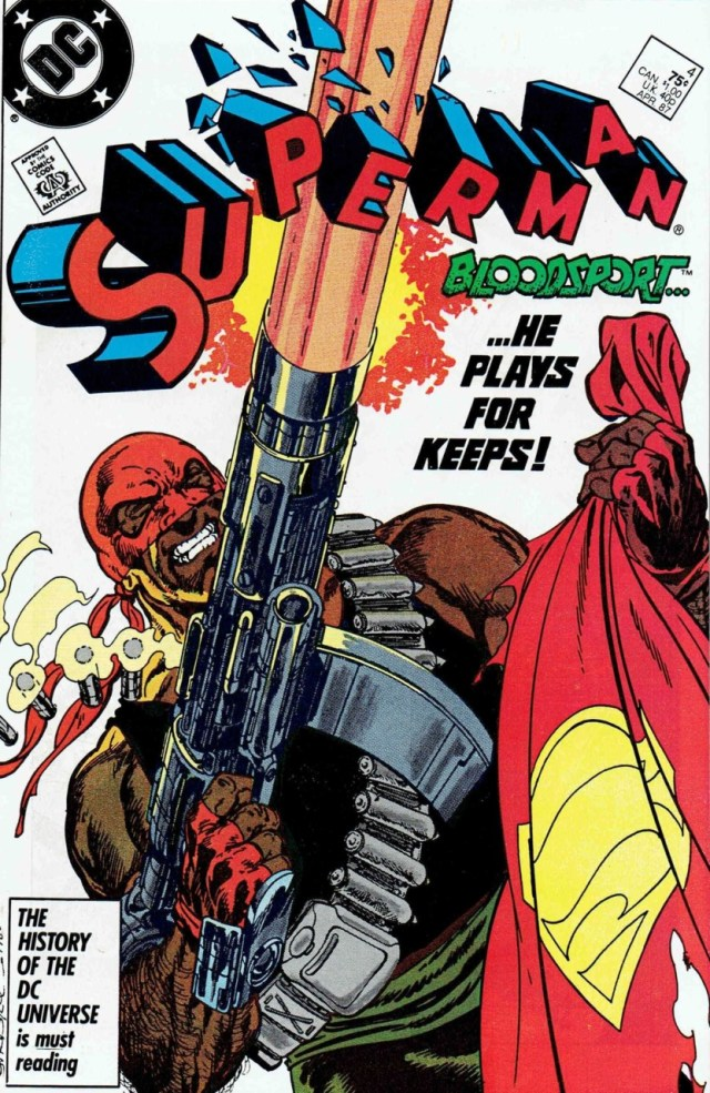 Bloodsport/Robert DuBois en la portada de Superman #4 (abril de 1987). Imagen: Comic Vine