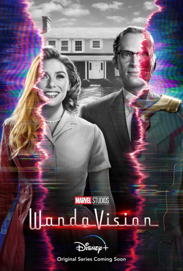 Wanda Maximoff/Scarlet Witch (Elizabeth Olsen) y The Vision (Paul Bettany) en un póster de WandaVision. Imagen: Marvel.com