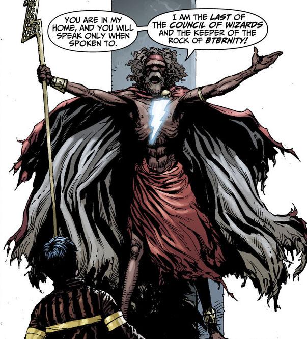 Billy Batson y el hechicero Shazam en Justice League #0 (noviembre de 2012). Arte por Gary Frank. Imagen: Comic Vine