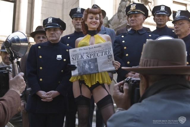 Silk Spectre/Sally Jupiter (Carla Gugino) en Watchmen (2009). Imagen: Warner Bros. Pictures