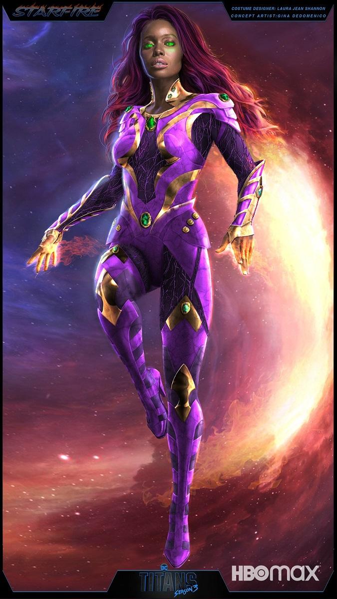 Arte conceptual del traje de Koriand'r/Kory Anders/Starfire (Anna Diop) en la temporada 3 de Titans. Imagen: dccomics.com