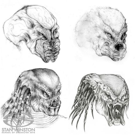 Diseños del Depredador en Predator (1987) por Stan Winston (1946-2008). Imagen: Stan Winston School of Characters Arts