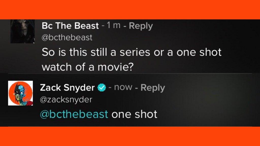 La confirmación de Zack Snyder's Justice League (2021) como una sola película. Imagen: What's On HBO Max Twitter (@WhatsOnHBOMax).