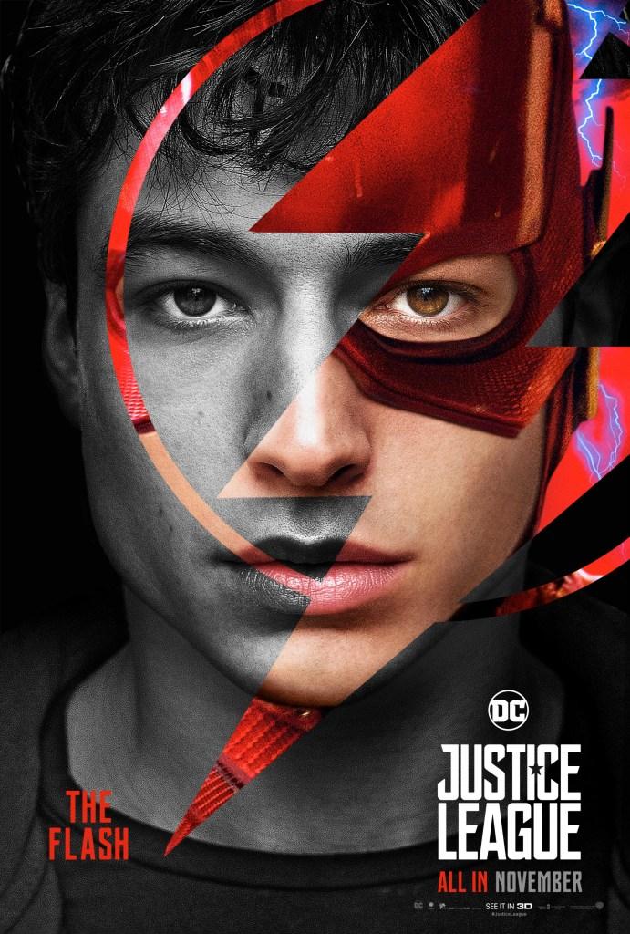 Flash/Barry Allen (Ezra Miller) en un póster de Justice League (2017). Imagen: impawards.com